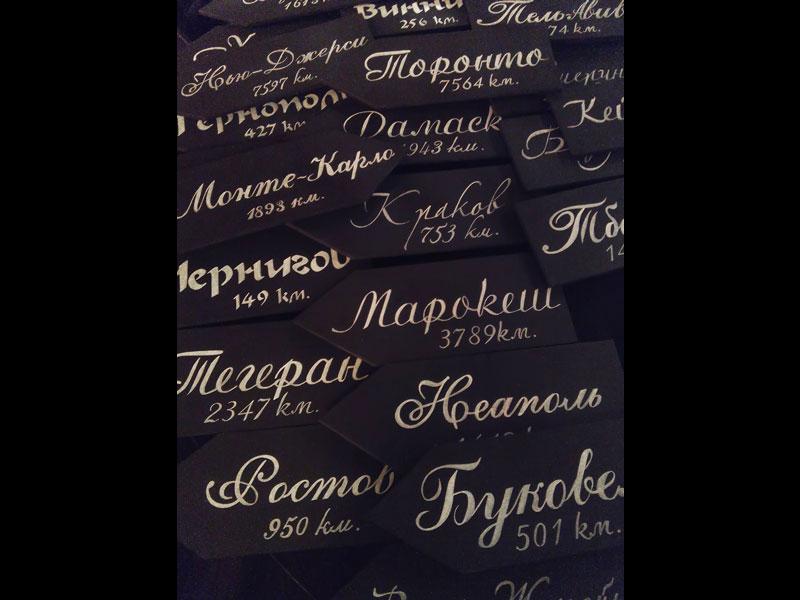 Каллиграфия. Надписи на черном фоне.