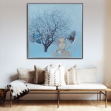 Картина ПолетI Холст акрил Large Acrylic painting on canvas Art Birds Portrait of a young girl