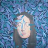 Картина Портрет Водоросли Акриловая живопись Холст акрил Портрет девушки Современное искусство