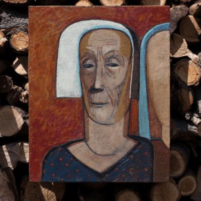Картина Портрет женщины в белом чепчике Энкаустика Киев. Original Encaustic Painting