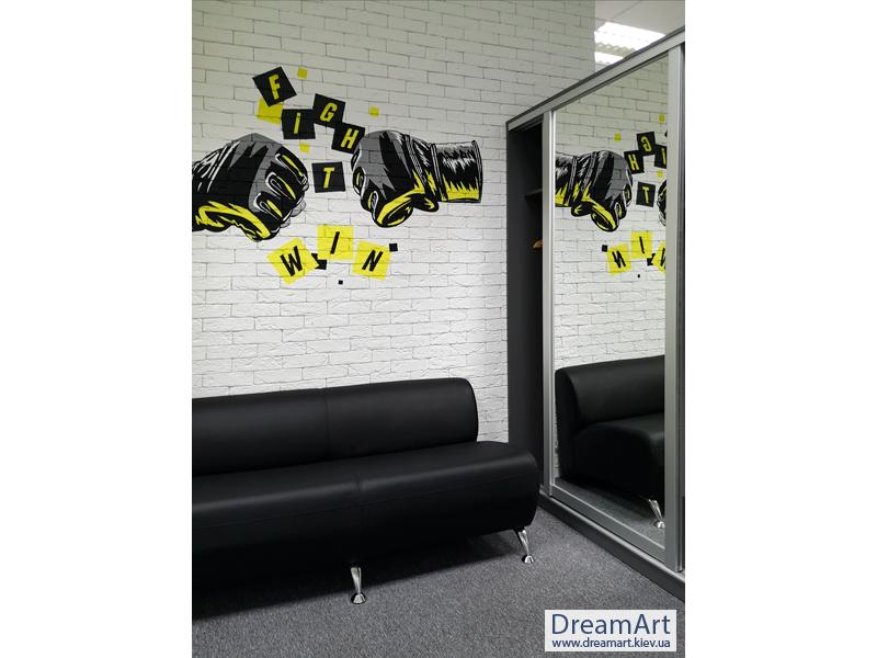 Граффити на стене в офисе Портрет Аэрография на стене Художественная роспись стен Рисунки на стенах Графика Роспись офиса Киев